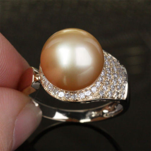 Unique Pave 10.8mm South Sea Pearl Solid 14K Yellow Gold .35ct Diamond Ring 4.4g - Lord of Gem Rings - 1