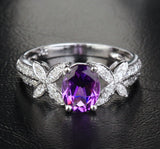 Oval Dark Amethyst Engagement Ring Pave Diamond Wedding 14k White Gold 6x8mm - Bowknot - Lord of Gem Rings - 2