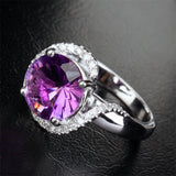Round Amethyst Engagement Ring Pave Diamond Wedding 14k White Gold 10mm - Lord of Gem Rings - 3