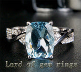 Cushion Aquamarine Engagement Ring Pave  Diamond Wedding 14K White Gold 8x10mm - Lord of Gem Rings - 1