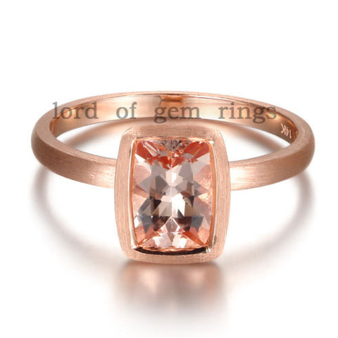 Cushion  Morganite Engagement Ring 14K Rose Gold Bezel 6x8mm - Lord of Gem Rings - 1