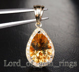 Natural 3.60ct Citrine 14k Gold .26ctw SI H Diamonds Pendant For Necklace - Lord of Gem Rings - 2