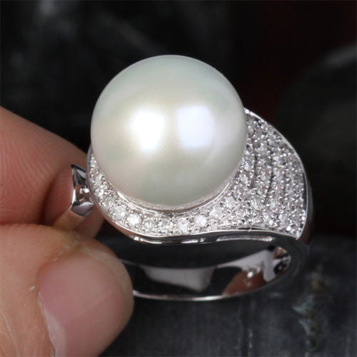 Unique 11.65mm South Sea Pearl Real 14K White Gold Pave .45ct Diamond Ring 6.16g - Lord of Gem Rings - 1