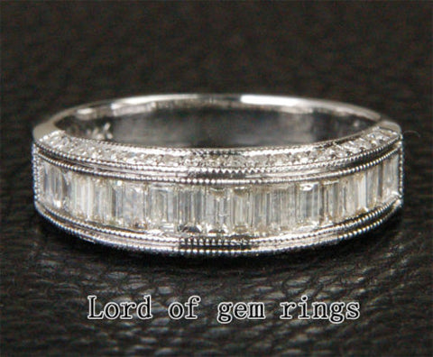 Baguette Diamond Wedding Band Engagement Ring 14K White Gold 1.28CT Channel - Lord of Gem Rings - 1