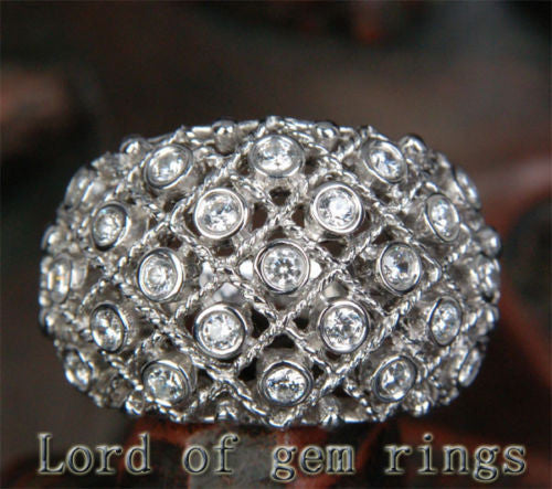 Unique Bezel .66CT Diamonds Filigrain Wedding Band Ring in 14K White Gold, 10.05g! - Lord of Gem Rings - 1