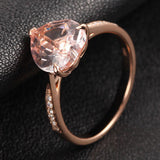 Heart Morganite Engagement Ring Pave Diamond Wedding 14K Rose Gold 8mm - Lord of Gem Rings - 2