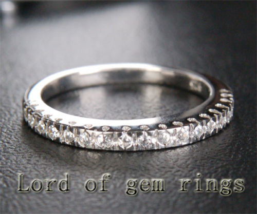 Moissanite Wedding Band Half Eternity Anniversary Ring 14k White Gold - Lord of Gem Rings - 1