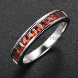 Princess Red Garnet Diamond Wedding Band Half Eternity Anniversary Ring 14K White Gold - Lord of Gem Rings - 2