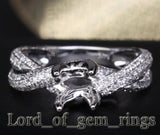 Diamond Engagement Semi Mount Ring 14K White Gold Setting Round 6.5mm - VS/H - Lord of Gem Rings - 1