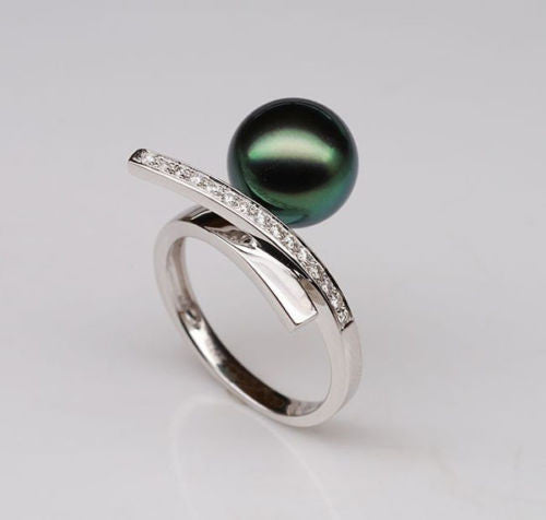 Unique Design 10mm Black Tahitian Pearl Solid 14K White Gold .25ct Diamonds Ring - Lord of Gem Rings - 1