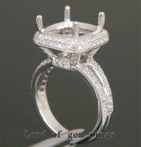 Diamond Engagement Semi Mount Ring 14K White Gold Setting Cushion 12mm - Lord of Gem Rings - 1