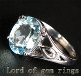 Oval Aquamarine Engagement Ring Diamond Wedding 14K White Gold 8x10mm Unique - Lord of Gem Rings - 2
