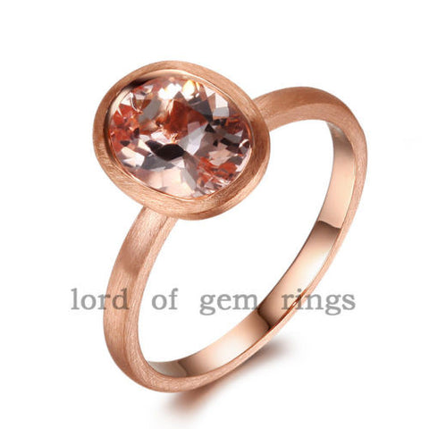 Oval Morganite Engagement Ring 14K Rose Gold 6x8mm Bezel - Lord of Gem Rings - 1