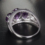 Oval Amethyst Engagement Ring Pave Diamond Wedding 14K White Gold 6x8mm - 3 stones - Lord of Gem Rings - 6