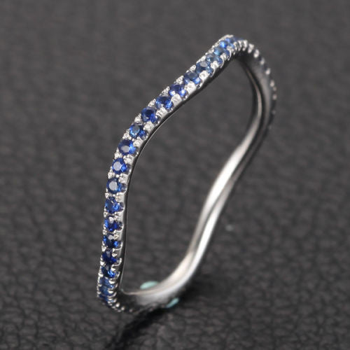 Ready to Ship - Natural Blue Sapphire Wedding Band Eternity Anniversary Ring 14K White Gold - Lord of Gem Rings - 1