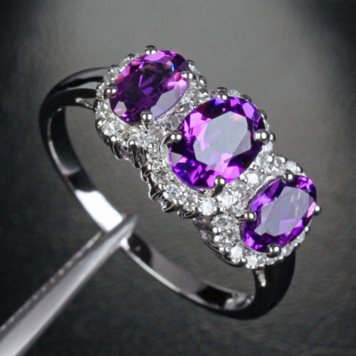 440 Oval Purple Amethyst Engagement Ring Pave Diamond