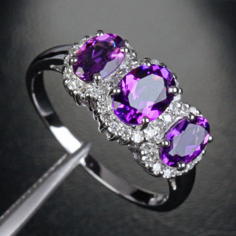 $440 Oval Purple Amethyst Engagement Ring Pave Diamond Wedding 14k