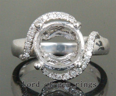 Unique 10-11mm Round 14K White Gold .22ct Diamonds Engsagement Semi Mount Rings - Lord of Gem Rings - 1