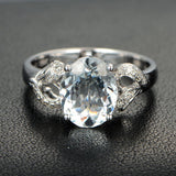 Oval Aquamarine Engagement Ring Pave Diamond Wedding 14K White Gold 8x10mm - Lord of Gem Rings - 4
