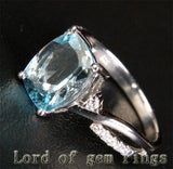 Cushion Aquamarine Engagement Ring Pave  Diamond Wedding 14K White Gold 8x10mm - Lord of Gem Rings - 2