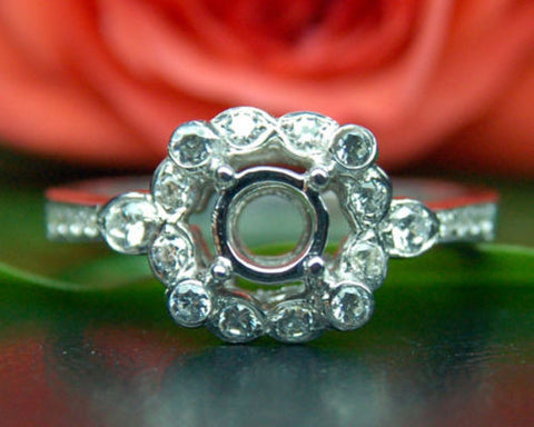 Unique 5mm Round 14K White Gold Bezel .24ct Diamonds Semi Mount Engagement Ring - Lord of Gem Rings - 1