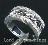 Unique Pave .28ctw Diamonds Solid 14K White Gold Wedding Band Ring 7.89g! Size 7 - Lord of Gem Rings - 2