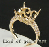 Diamond Engagement Semi Mount Ring 14K Yellow Gold Setting Cushion 12mm - Lord of Gem Rings - 3