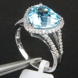 Heart Shaped Blue Topaz and Diamonds Engagement Ring, Halo,14k White Gold - Lord of Gem Rings - 2