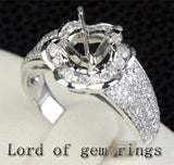 Diamond Engagement Semi Mount Ring 14K White Gold Setting Round 6.5mm Channel - Lord of Gem Rings - 3