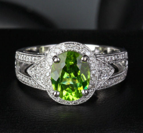 Oval Peridot Engagement Ring Pave Diamond Wedding 14K White Gold 7x9mm Milgrain - Lord of Gem Rings - 1