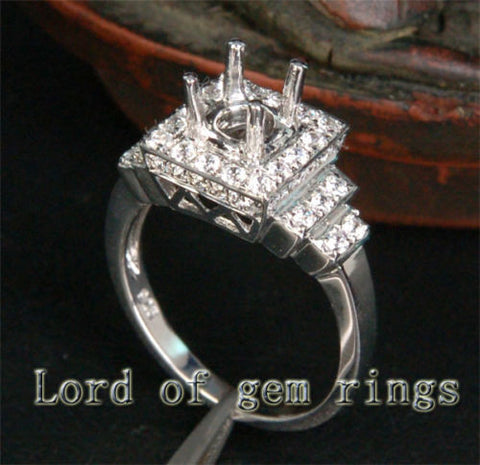 Unique 5mm Round Cut 14K White Gold Pave .31CT Diamonds Engagement Ring Setting - Lord of Gem Rings - 1