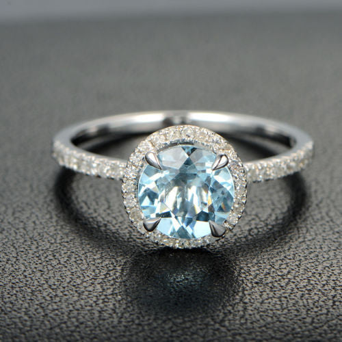 Round Aquamarine Engagement Ring Pave Diamond Wedding 14K White Gold 7mm Claw Prongs - Lord of Gem Rings - 1