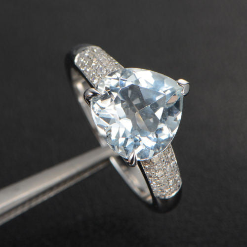 Heart Aquamarine Engagement Ring Pave Diamond Wedding 14K White Gold 10mm  Claw Prongs - Lord of Gem Rings - 1