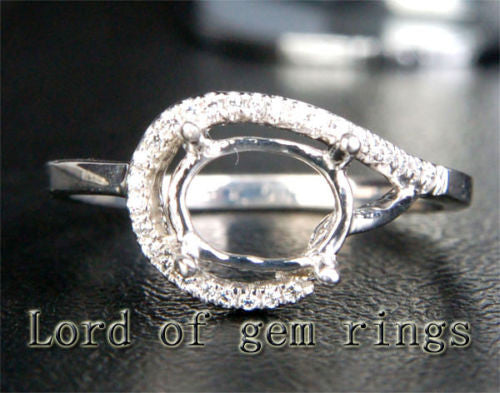 Unique 6x8mm Oval Cut Engagement Wedding Semi Mount Ring 14K White Gold Diamonds - Lord of Gem Rings - 1