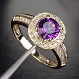 Round Amethyst Engagement Ring Diamond Wedding 14K Yellow Gold 6.5mm - Lord of Gem Rings - 6