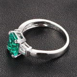 Emerald Cut Emerald Engagement Ring VS Baguette Diamond Wedding 14K White Gold 6x8mm  Claw Prongs - Lord of Gem Rings - 3