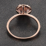 Round Morganite Engagement Ring Pave Diamond Wedding 14K Rose Gold 7mm - Lord of Gem Rings - 3
