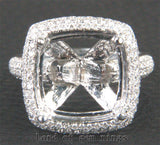 Diamond Engagement Semi Mount Ring 14K White Gold Setting Cushion 12mm - Lord of Gem Rings - 3