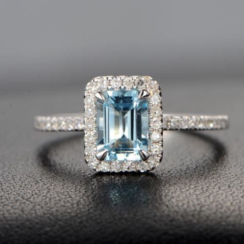 Emerald Cut Aquamarine Engagement Ring Pave Diamond Wedding 14K White Gold 5x7mm Claw Prongs - Lord of Gem Rings - 1