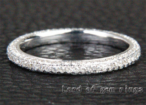 Pave Diamond Wedding Band Eternity Anniversary Ring 14K White Gold -VS/H Diamonds - Lord of Gem Rings - 1