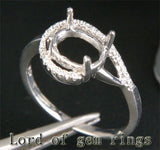 Unique 6x8mm Oval Cut Engagement Wedding Semi Mount Ring 14K White Gold Diamonds - Lord of Gem Rings - 3