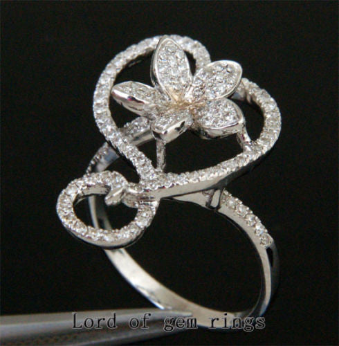 Unique Flower .52ct Diamonds 14K WHITE GOLD Pave ENGAGEMENT Wedding RING Size 7 - Lord of Gem Rings - 1