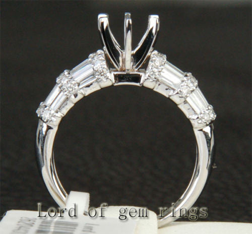 Diamond Engagement Semi Mount Ring 14K White Gold Setting Round 6.3-6.7mm Channel - Lord of Gem Rings - 1