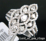 Unique Flower 1.10ct Diamonds 14K White Gold Pave Engagement Wedding Ring Size 7 - Lord of Gem Rings - 1