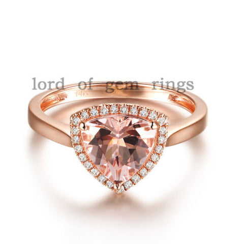 Trillion Morganite Engagement Ring Diamond Halo 14K Rose Gold 8mm - Lord of Gem Rings - 1