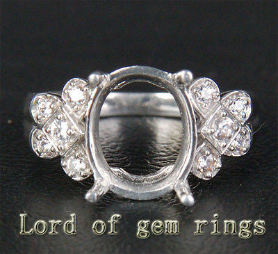 Unique 9x11mm Diamonds Semi Mount Engagement Ring Oval Cut 14K White Gold 3.75g - Lord of Gem Rings - 1
