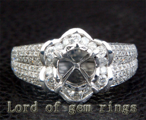 Diamond Engagement Semi Mount Ring 14K White Gold Setting Round 6.5mm Channel - Lord of Gem Rings - 1