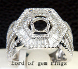 Baguette Diamond Engagement Semi Mount Ring 14K White Gold Round 6.3-6.7mm - Lord of Gem Rings - 2