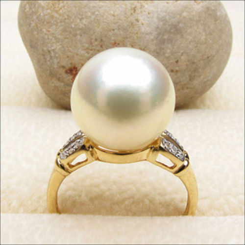 11.1mm South Sea Pearl Real .17ctw Diamonds Engagement Ring 14K Yellow Gold - Lord of Gem Rings - 1