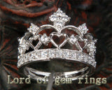 Diamond Wedding Band Engagement Ring 14K White Gold Heart Crown - Lord of Gem Rings - 2